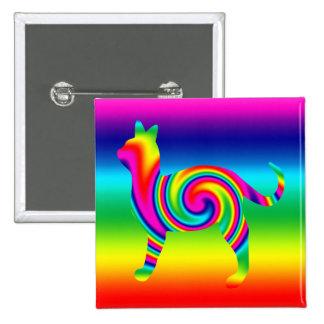 Cat Shaped Rainbow Twist 15 Cm Square Badge