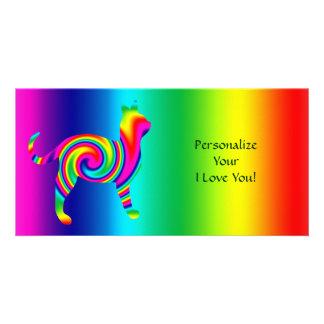 Cat Shaped Rainbow Twist Photo Card