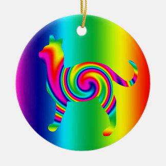 Cat Shaped Rainbow Twist Round Ceramic Decoration