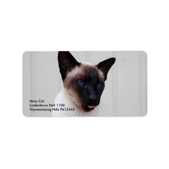 Cat Siamese Portrait Address Label