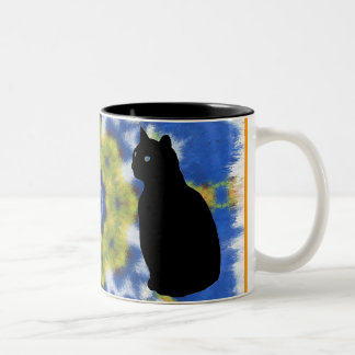 Cat Silhouette and Tie Dye Mug
