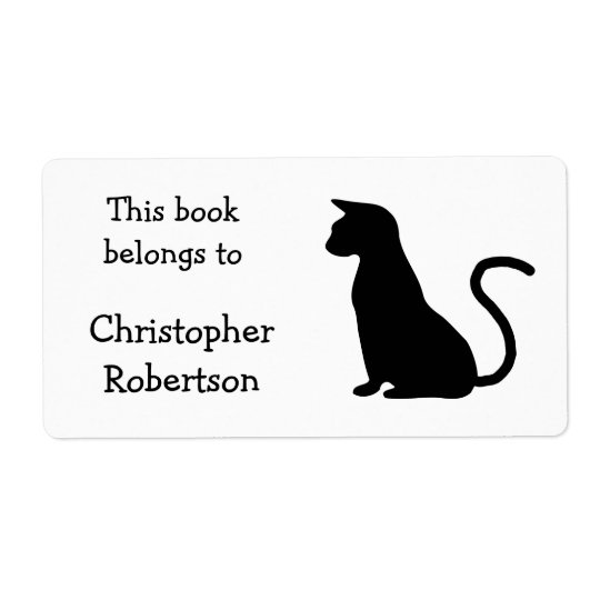 Cat Silhouette Book Plate Shipping Label