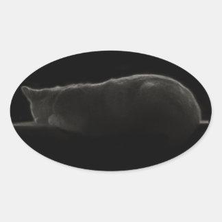 Cat Silhouette Oval Sticker
