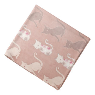 Cat Silhouette Pattern on Brown Bandana