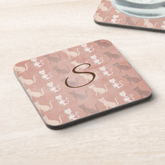 Cat Silhouette Pattern on Brown Personalized Coaster