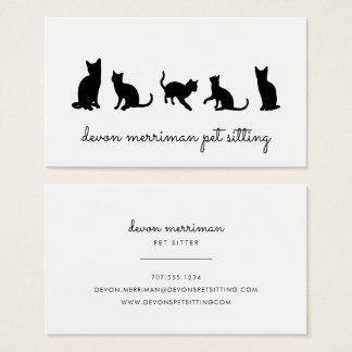 Cat Silhouette Pet Sitter Business Card