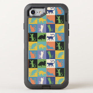 Cat Silhouette Quilt Squares in Vintage Colors OtterBox Defender iPhone 7 Case