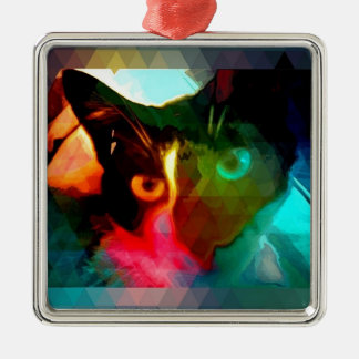 cat Silver-Colored square decoration