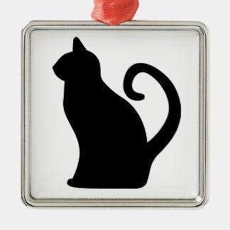 Cat. Silver-Colored Square Decoration