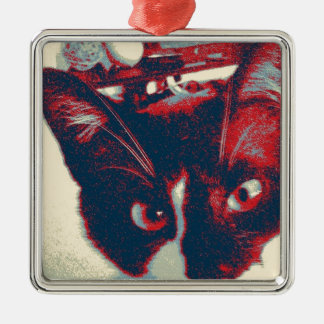 cat Silver-Colored square decoration