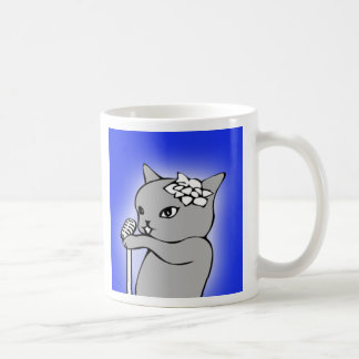 Cat Singing into A Microphone Mug