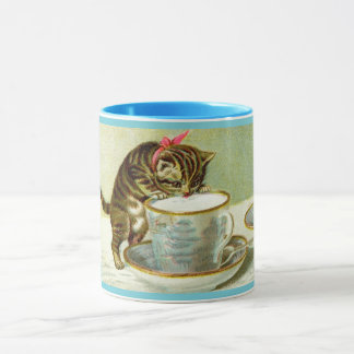 Cat Sipping Tea Custom Mug
