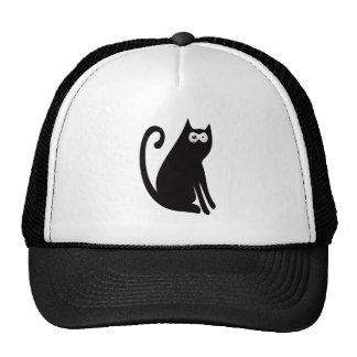 Cat Sit And Look Back Black Manic Bloodshot Eyes Mesh Hats