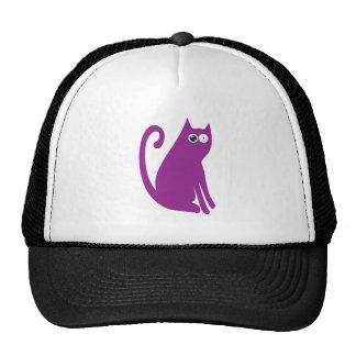 Cat Sit And Look Back Purple Stunned Eyes Hat