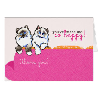 Cat Sitter Thank You Ragdoll Couch Pink Card