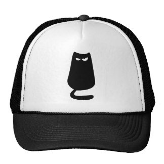 Cat Sitting Black Dissaproval Eyes Hats