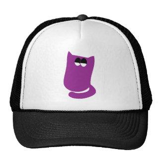 Cat Sitting Bundle Purple Satisfied Smug Eyes Trucker Hat