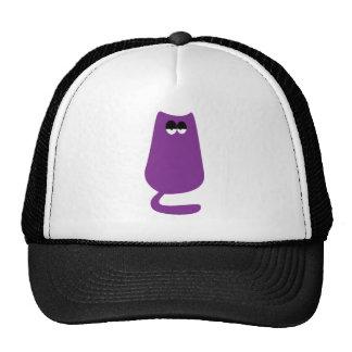 Cat Sitting Purple Hi Eyes Mesh Hat