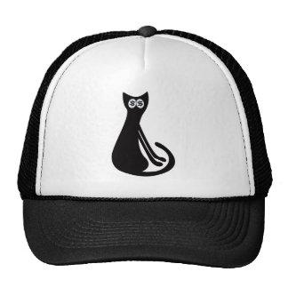 Cat Sitting Sideways Black Cash Eyes Blue Mesh Hat