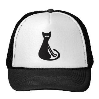 Cat Sitting Sideways Black Hi Eyes Trucker Hats
