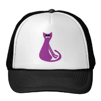 Cat Sitting Sideways Purple Hi Eyes Hats