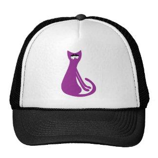Cat Sitting Sideways Purple So Tired Eyes Trucker Hat