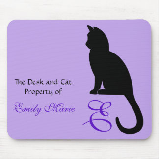 Cat Sitting Silhouette: Desk of Mouse Pad