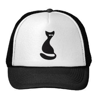 Cat Sitting Turnaround Black Hi Eyes Trucker Hats