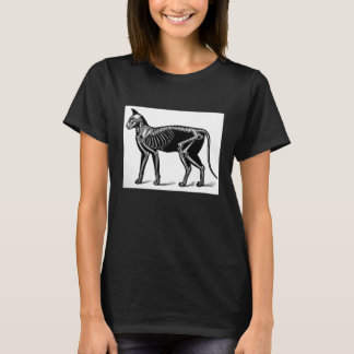 Cat Skeleton Vintage Print Ladies' Black T-shirt
