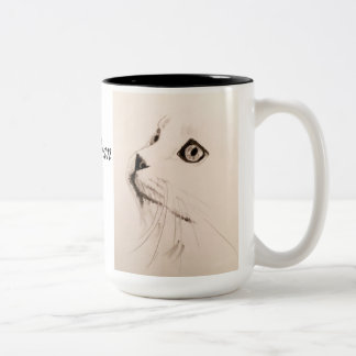 Cat Sketch Coffee Mug with Dicken's Quote