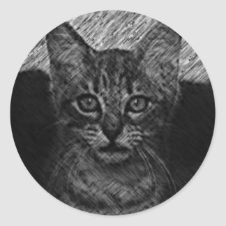Cat sketching round sticker