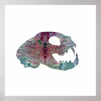 cat skull art poster
