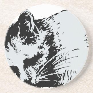 cat sleep beverage coasters