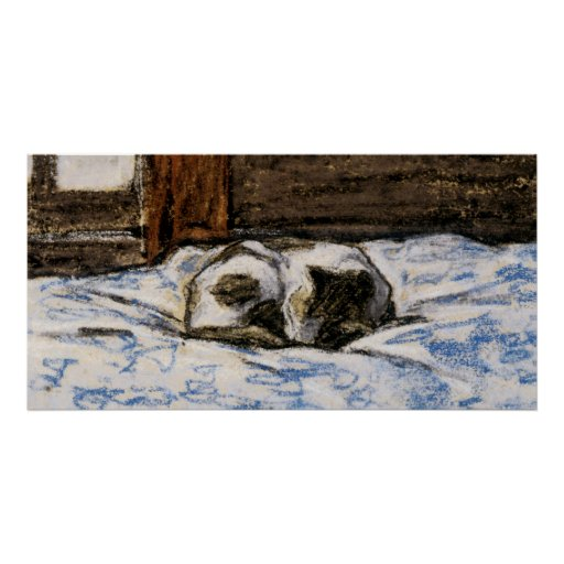 Cat Sleeping on a Bed Print