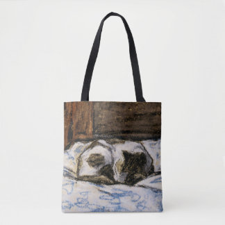 Cat Sleeping on a Bed Tote Bag