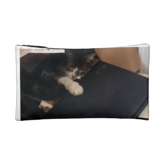 Cat Sleeping with Laptop Cosmetic Bag