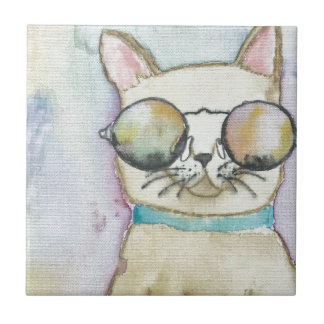 cat small square tile