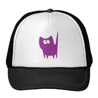 Cat Small Standing Purple Look Up There Eyes Mesh Hats