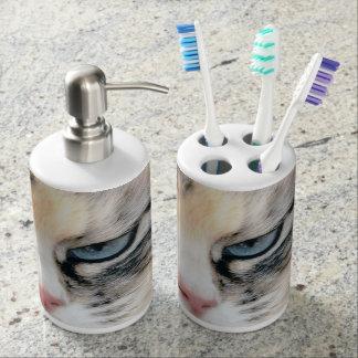 Cat Soap Dispenser And Toothbrush Holder