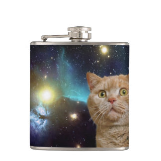 Cat staring at the universe hip flask
