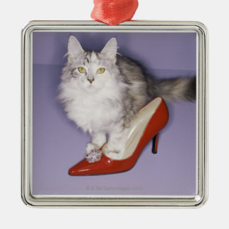 Cat stepping into high heel Silver-Colored square decoration