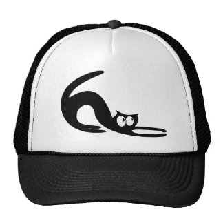 Cat Stretch Black Look Up There Eyes Mesh Hat