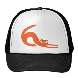 Cat Stretch Orange Dissaproval Eyes Mesh Hats