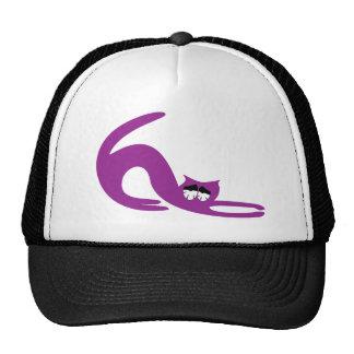 Cat Stretch Purple So Tired Eyes Trucker Hat
