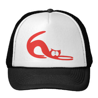 Cat Stretch Red Wtf Eyes Mesh Hats