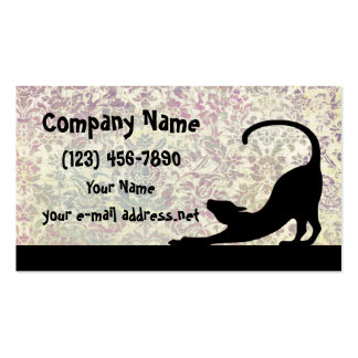 Cat Stretching Silhouette Business Cards