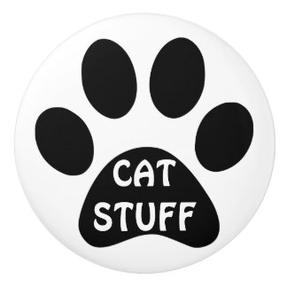 Cat Stuff pawprint Drawer or Pet Cupboard Ceramic Knob