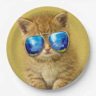 Cat sunglasses - cat love - pet - cute cats paper plate