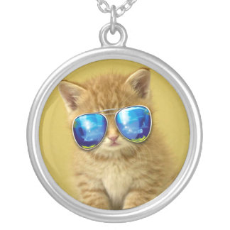 Cat sunglasses - cat love - pet - cute cats silver plated necklace
