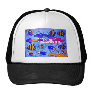 Cat Swimming with Fish Hat